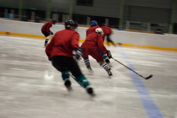 Skating drill at training